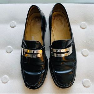 Vintage Gucci Metal G Silver Logo Loafers